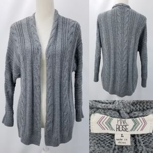 Pink Rose Acrylic Cable knit Open Front Cardigan L